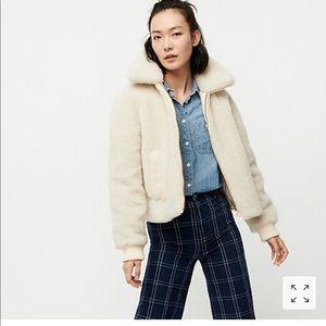 Plush fleece bomber jacket